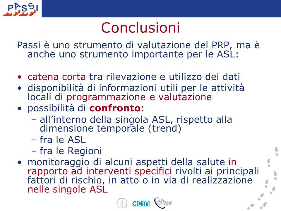 Conclusioni Passi è uno strumento di valutazione del PRP, ma è anche uno strumento importante per le ASL: