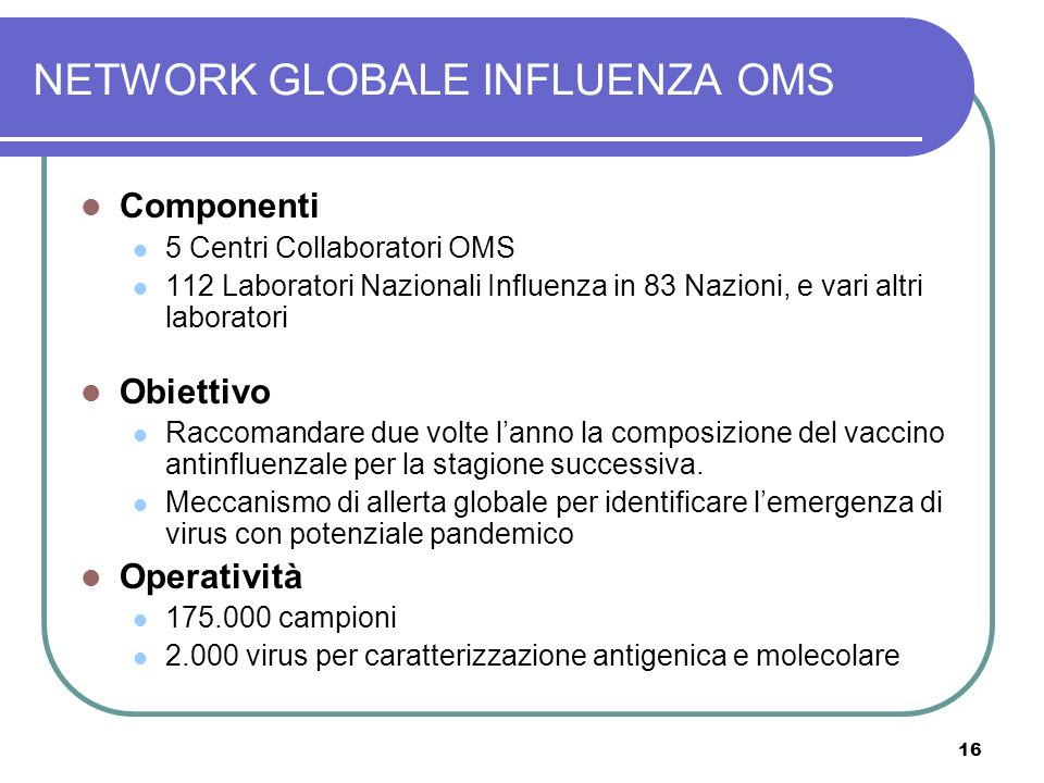 NETWORK GLOBALE INFLUENZA OMS