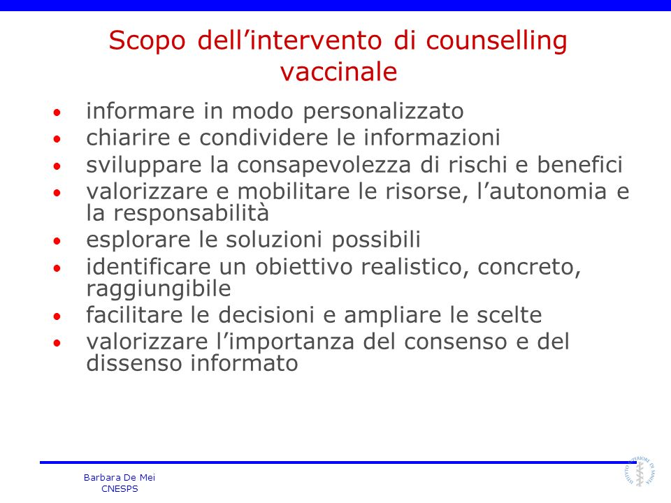 Scopo dell'intervento di counselling vaccinale