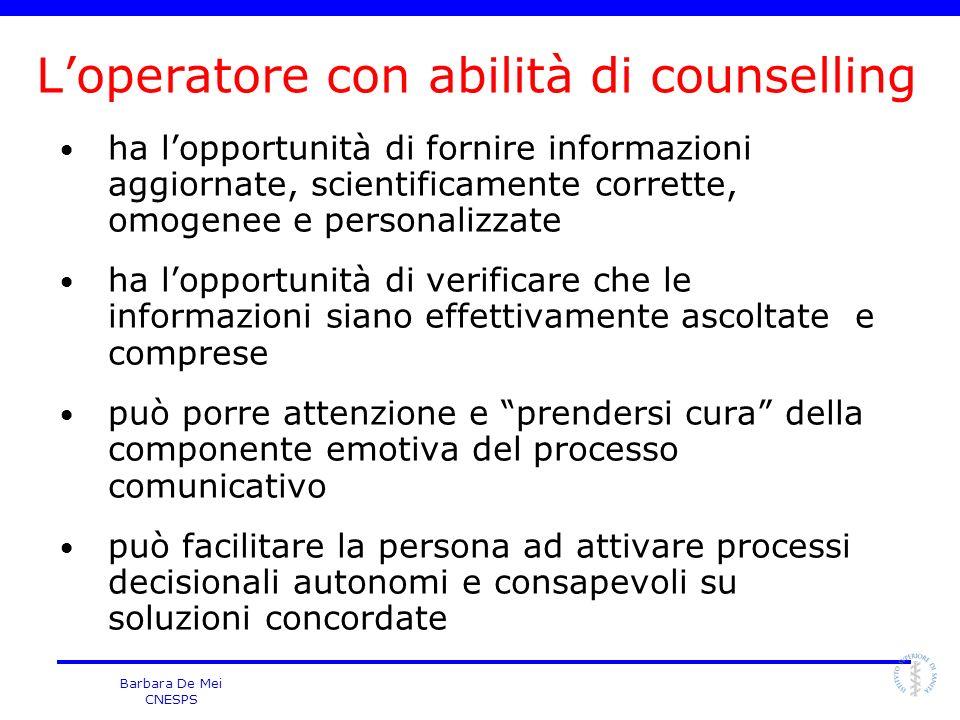 L'operatore con abilità di counselling