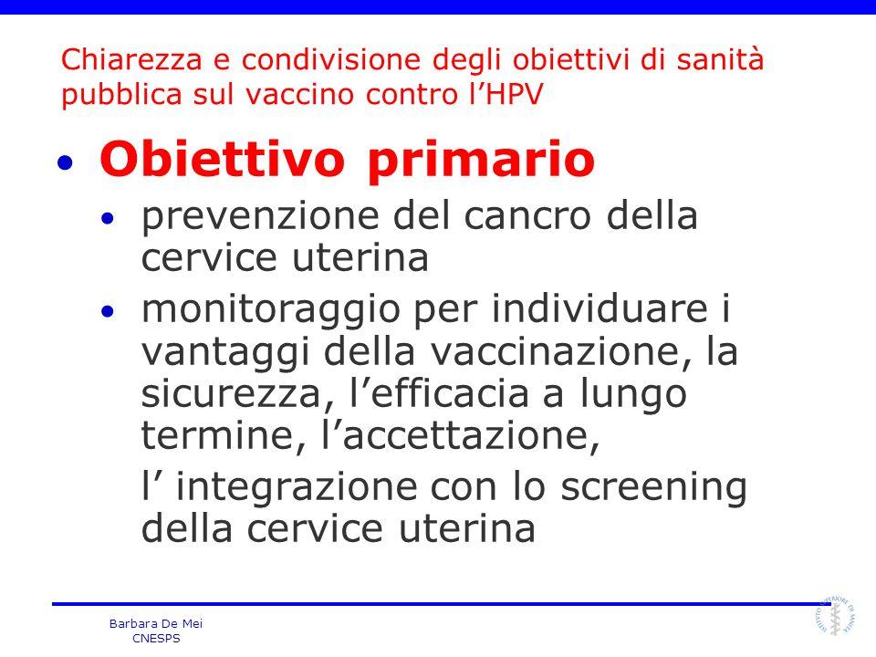 Obiettivo primario prevenzione del cancro della cervice uterina