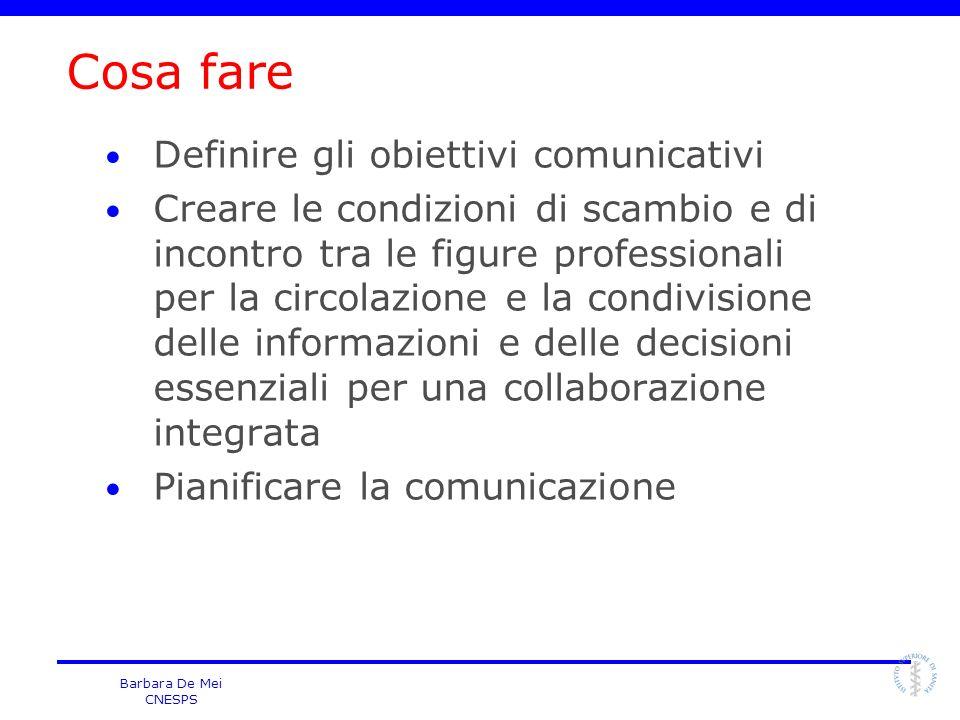 Cosa fare Definire gli obiettivi comunicativi