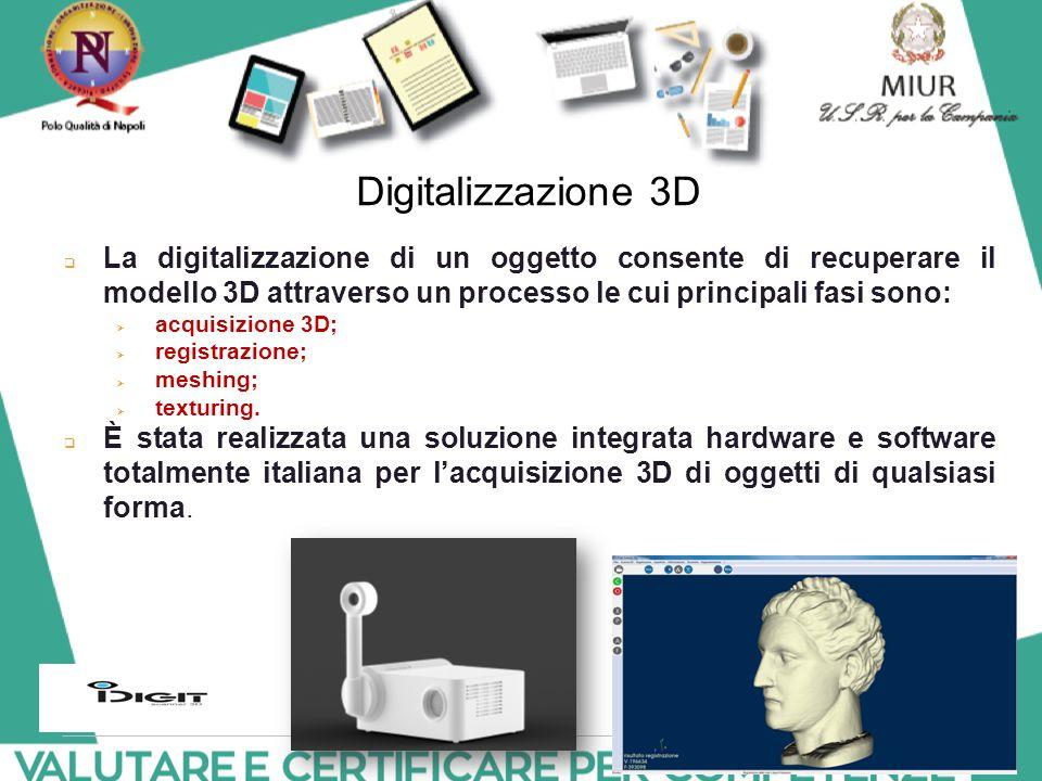 Digitalizzazione 3D La digitalizzazione di un oggetto consente di recuperare il modello 3D attraverso un processo le cui principali fasi sono: