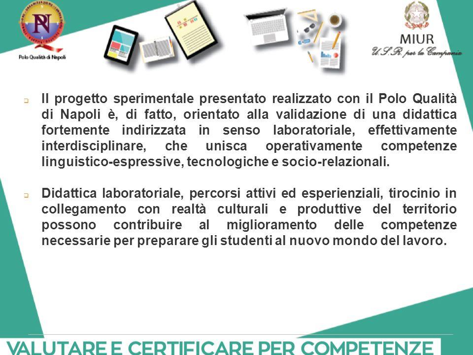 Il progetto sperimentale presentato realizzato con il Polo Qualità di Napoli è, di fatto, orientato alla validazione di una didattica fortemente indirizzata in senso laboratoriale, effettivamente interdisciplinare, che unisca operativamente competenze linguistico-espressive, tecnologiche e socio-relazionali.