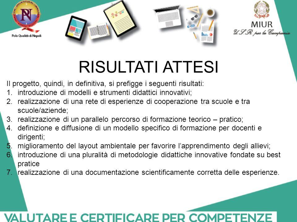 RISULTATI ATTESI Il progetto, quindi, in definitiva, si prefigge i seguenti risultati: introduzione di modelli e strumenti didattici innovativi;
