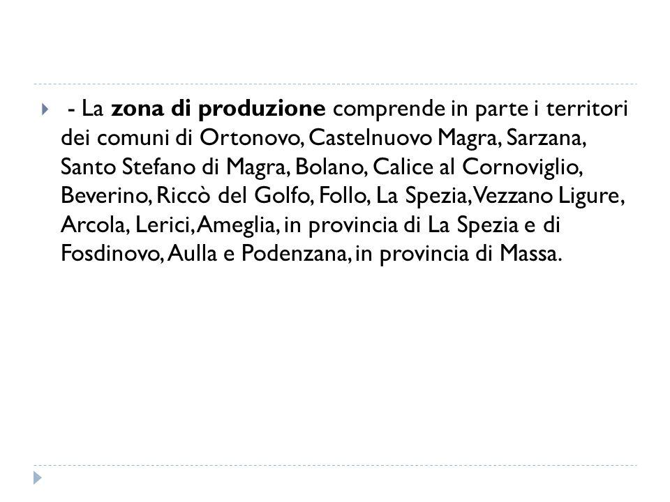 - La zona di produzione comprende in parte i territori dei comuni di Ortonovo, Castelnuovo Magra, Sarzana, Santo Stefano di Magra, Bolano, Calice al Cornoviglio, Beverino, Riccò del Golfo, Follo, La Spezia, Vezzano Ligure, Arcola, Lerici, Ameglia, in provincia di La Spezia e di Fosdinovo, Aulla e Podenzana, in provincia di Massa.
