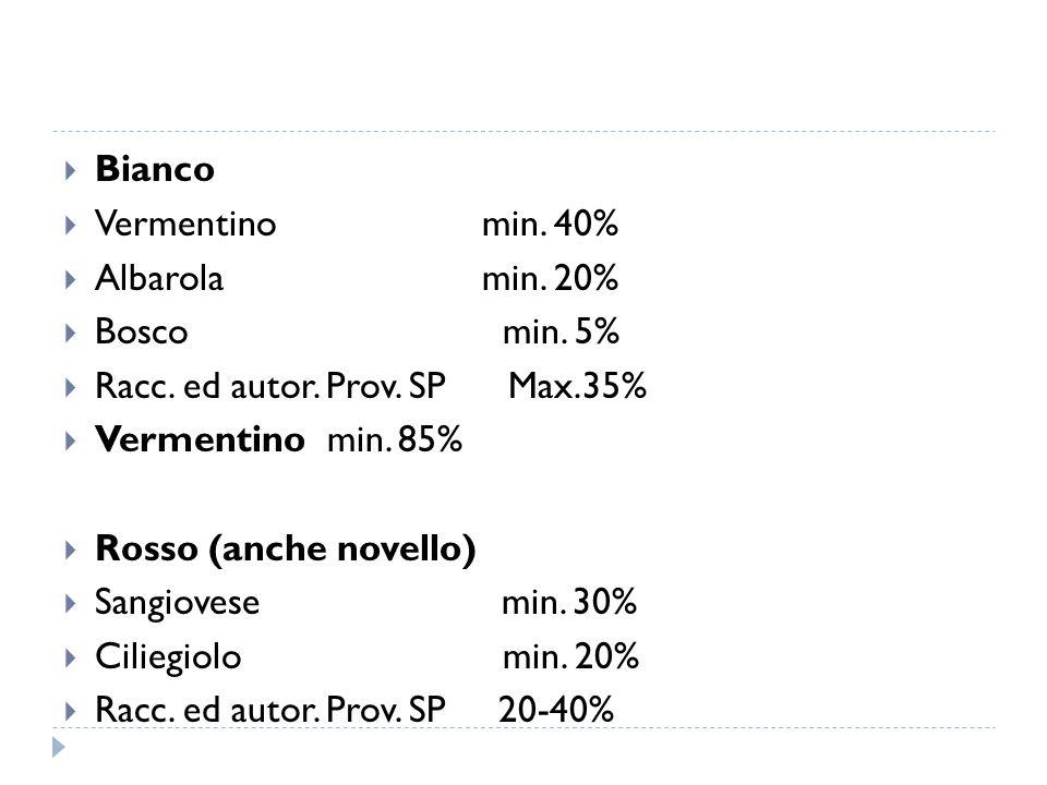 Bianco Vermentino min. 40% Albarola min. 20% Bosco min. 5% Racc. ed autor. Prov. SP Max.35%