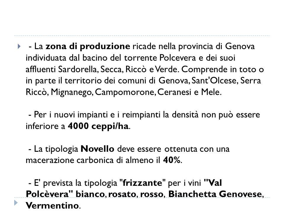 - La zona di produzione ricade nella provincia di Genova individuata dal bacino del torrente Polcevera e dei suoi affluenti Sardorella, Secca, Riccò e Verde.