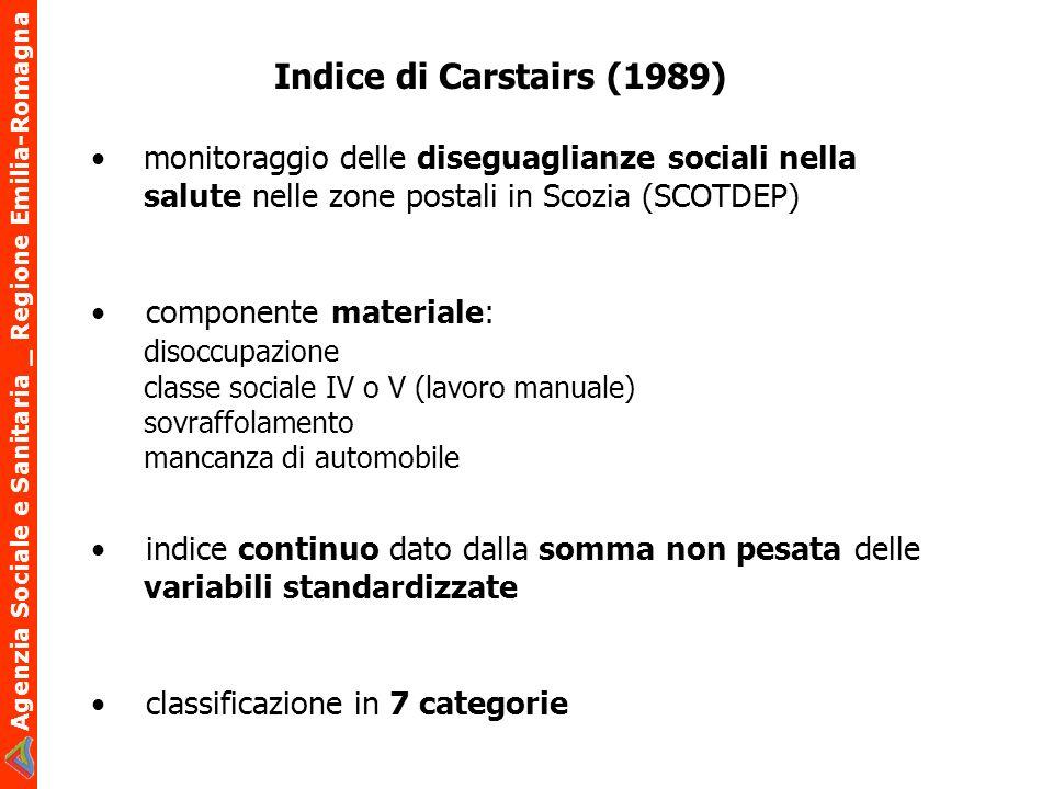 Indice di Carstairs (1989)• monitoraggio delle diseguaglianze sociali nella salute nelle zone postali in Scozia (SCOTDEP)