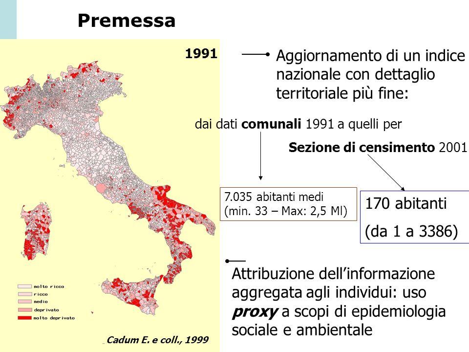 Premessa 1991. Aggiornamento di un indice nazionale con dettaglio territoriale più fine: dai dati comunali 1991 a quelli per.