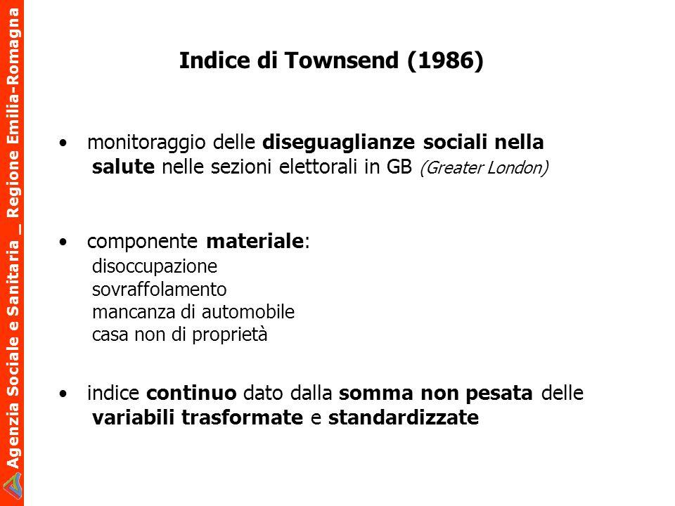 Indice di Townsend (1986)• monitoraggio delle diseguaglianze sociali nella salute nelle sezioni elettorali in GB (Greater London)