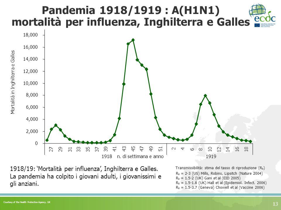 Pandemia 1918/1919 : A(H1N1) mortalità per influenza, Inghilterra e Galles