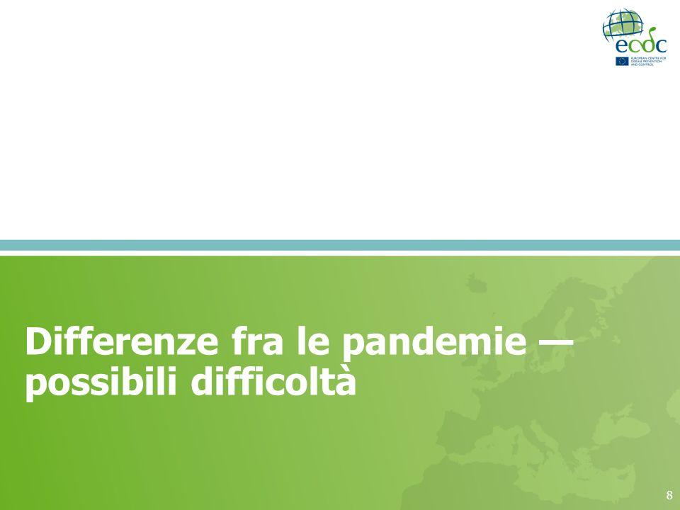 Differenze fra le pandemie — possibili difficoltà