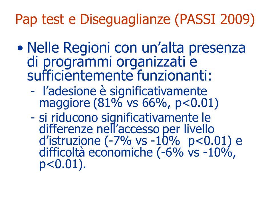 Pap test e Diseguaglianze (PASSI 2009)