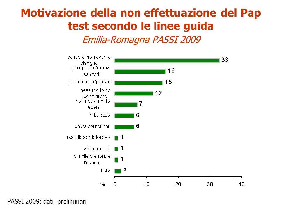 PASSI 2009: dati preliminari