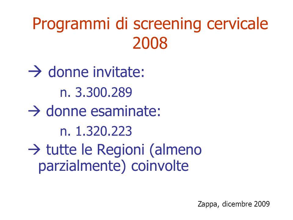 Programmi di screening cervicale 2008