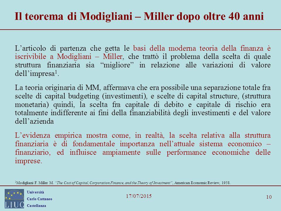 Il teorema di Modigliani – Miller dopo oltre 40 anni