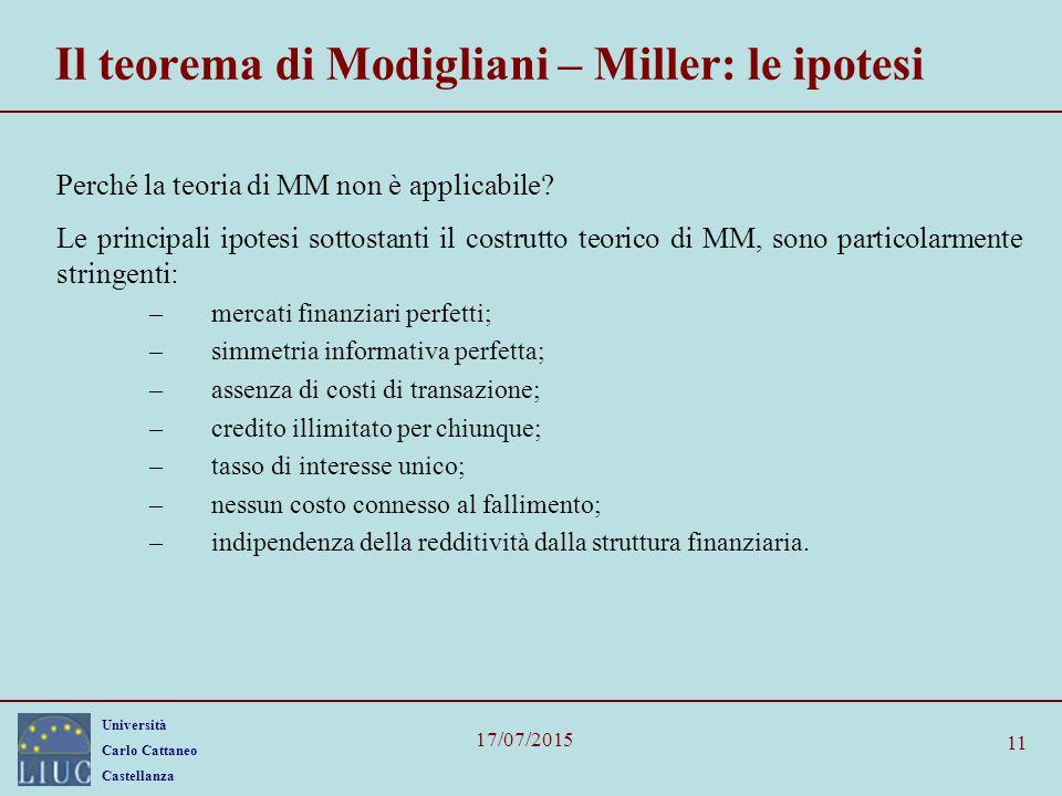 Il teorema di Modigliani – Miller: le ipotesi