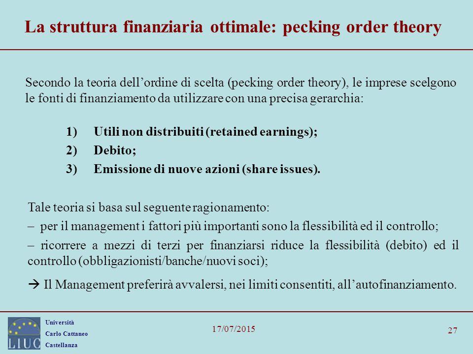 La struttura finanziaria ottimale: pecking order theory