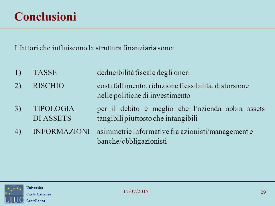 Conclusioni I fattori che influiscono la struttura finanziaria sono:
