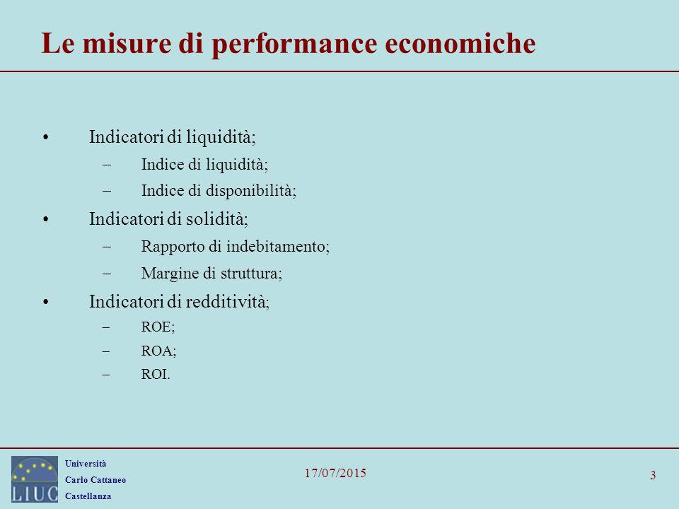 Le misure di performance economiche