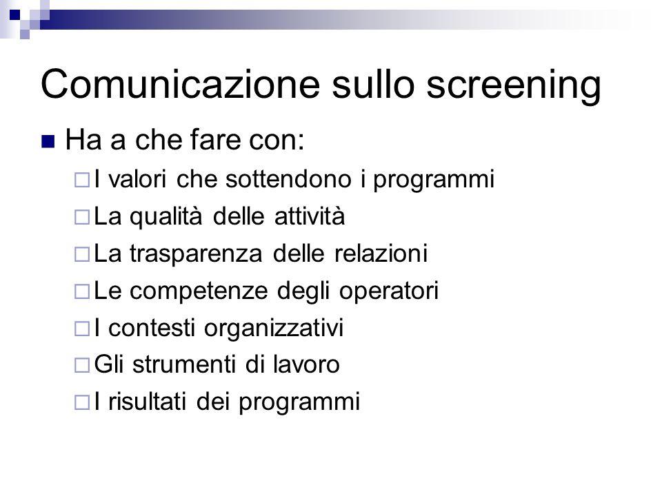 Comunicazione sullo screening