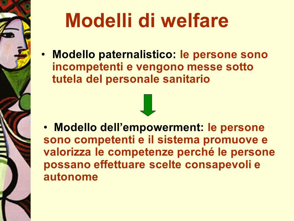 Modelli di welfare Modello paternalistico: le persone sono incompetenti e vengono messe sotto tutela del personale sanitario.