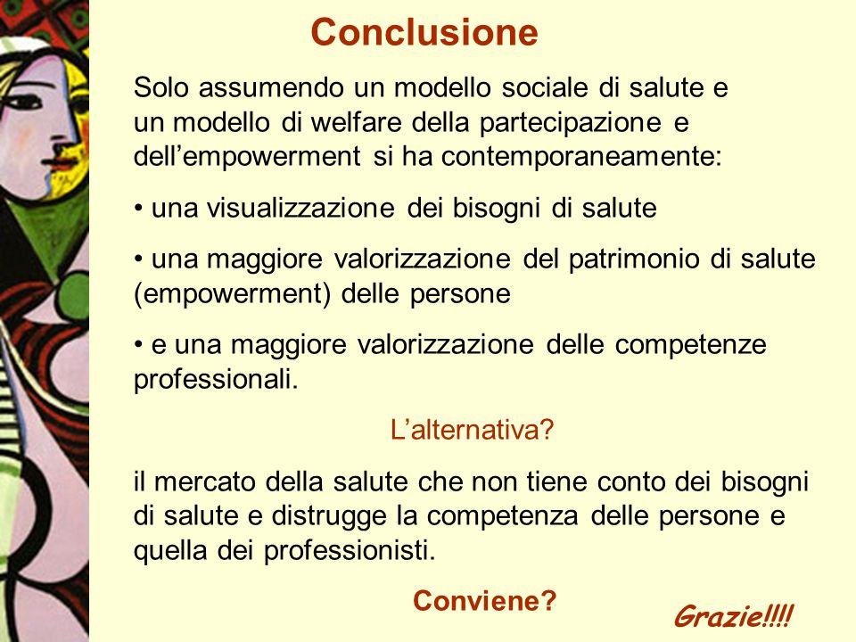 Conclusione Solo assumendo un modello sociale di salute e un modello di welfare della partecipazione e dell'empowerment si ha contemporaneamente: