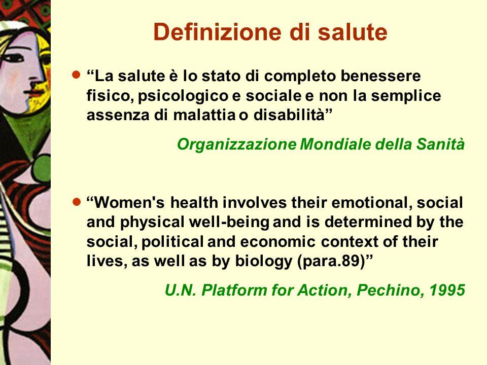 Definizione di salute La salute è lo stato di completo benessere fisico, psicologico e sociale e non la semplice assenza di malattia o disabilità