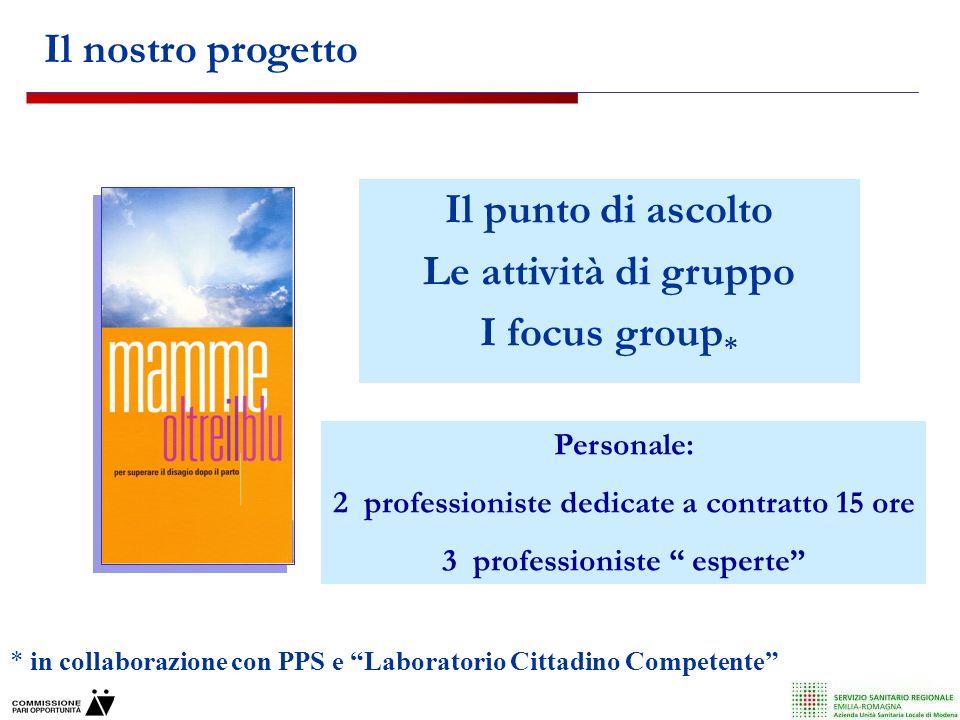 Il punto di ascolto Le attività di gruppo I focus group*