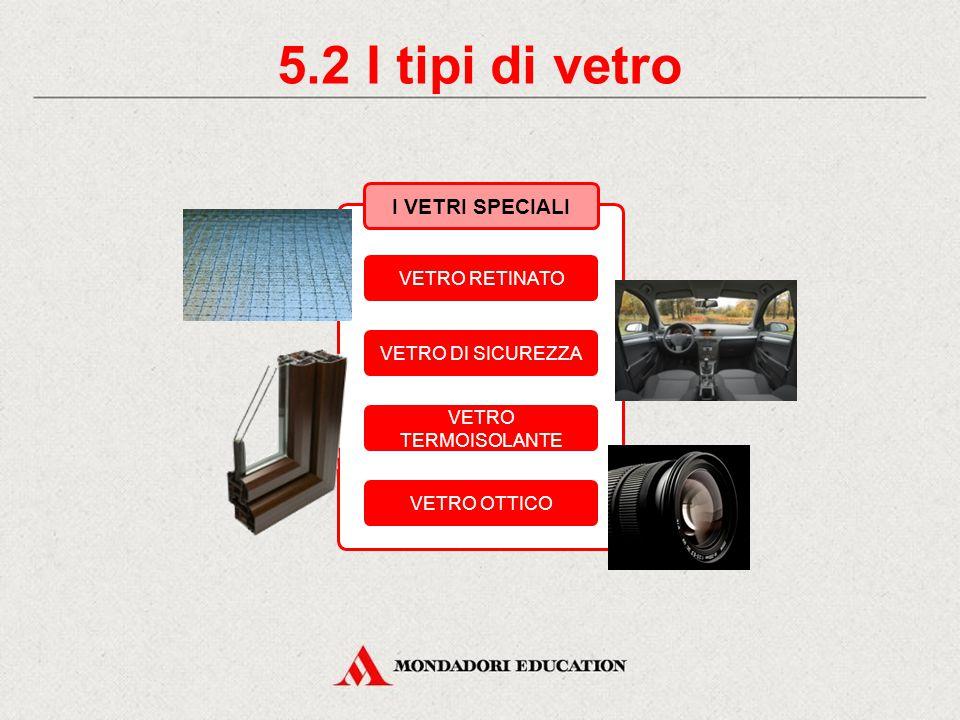 5.2 I tipi di vetro I VETRI SPECIALI VETRO RETINATO VETRO DI SICUREZZA