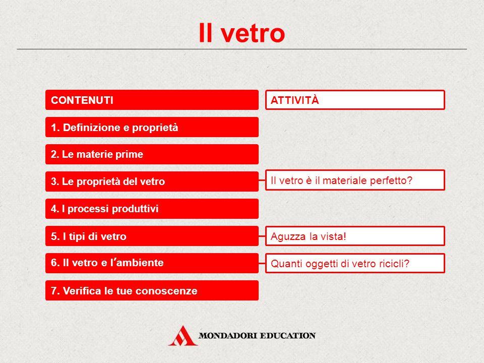 Il vetro CONTENUTI ATTIVITÀ 1. Definizione e proprietà