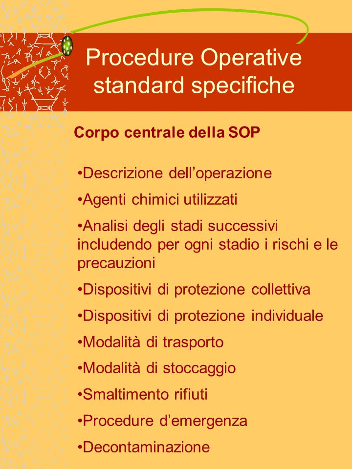 Procedure Operative standard specifiche