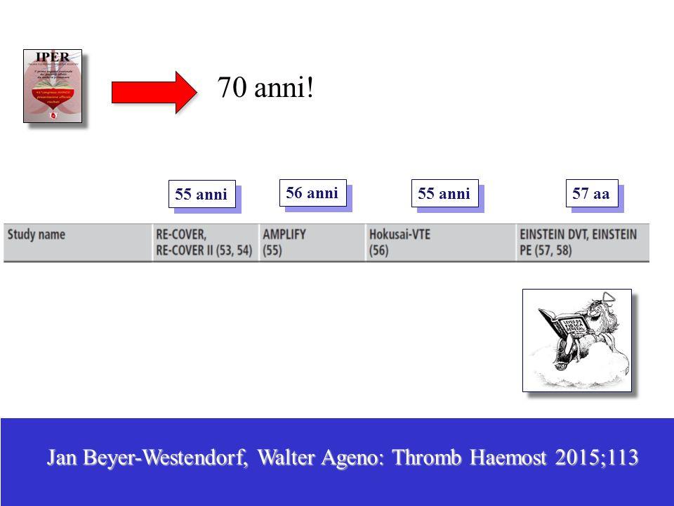 70 anni! Jan Beyer-Westendorf, Walter Ageno: Thromb Haemost 2015;113