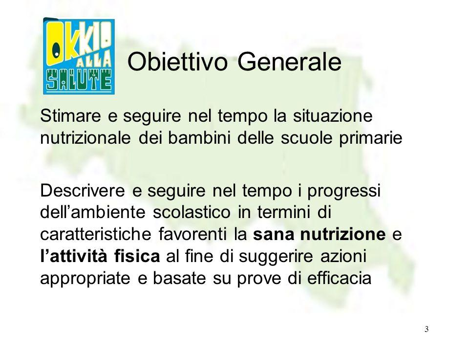 Obiettivo GeneraleStimare e seguire nel tempo la situazione nutrizionale dei bambini delle scuole primarie.