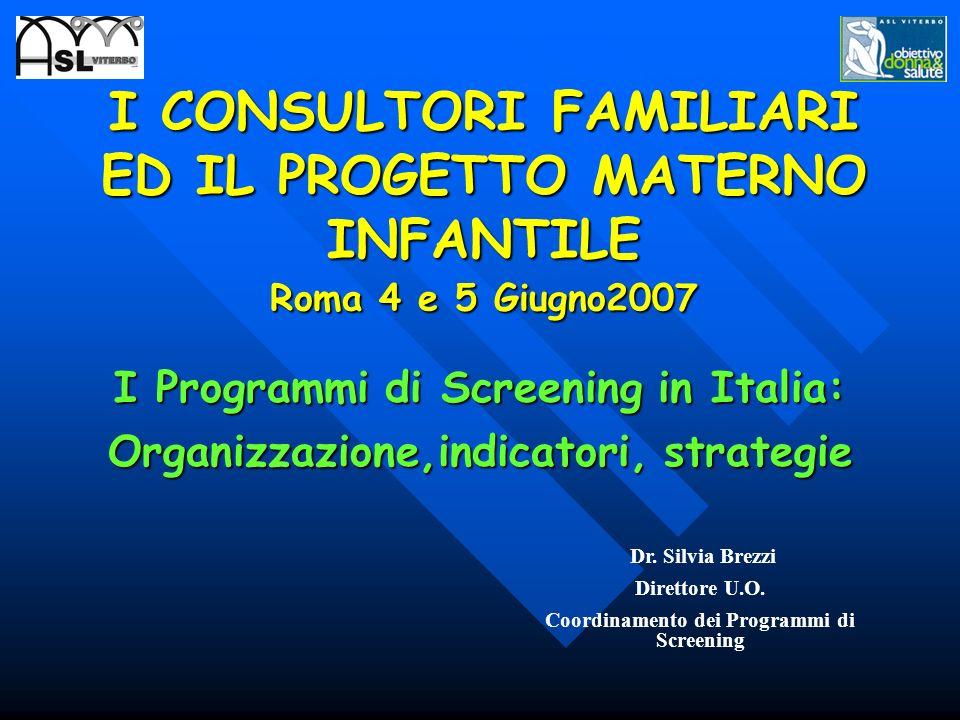 I CONSULTORI FAMILIARI ED IL PROGETTO MATERNO INFANTILE Roma 4 e 5 Giugno2007