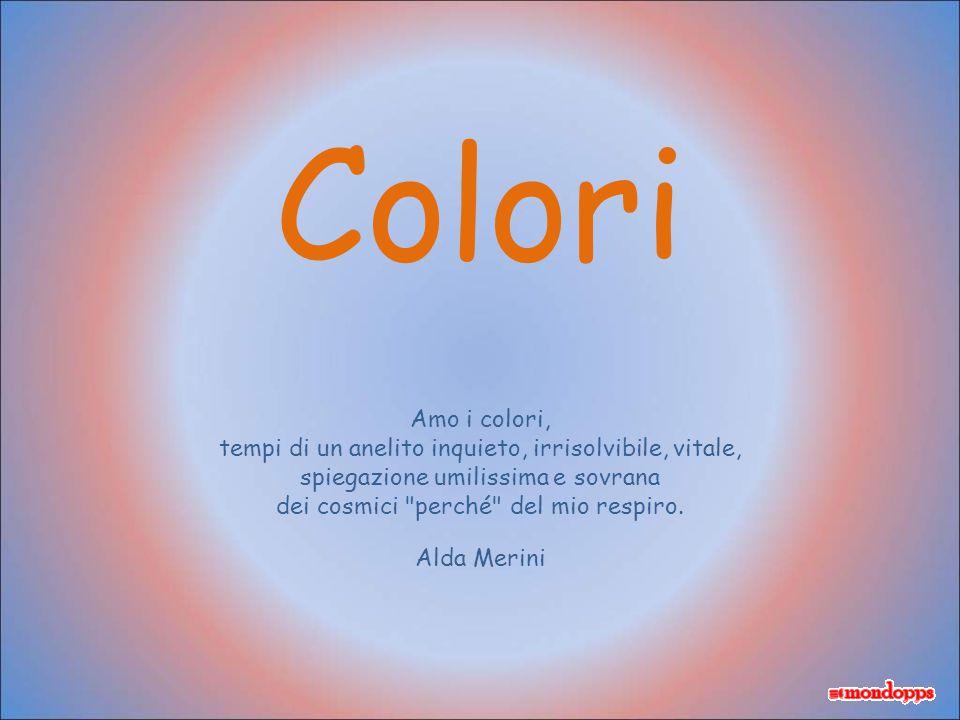 Colori Amo i colori, tempi di un anelito inquieto, irrisolvibile, vitale, spiegazione umilissima e sovrana.