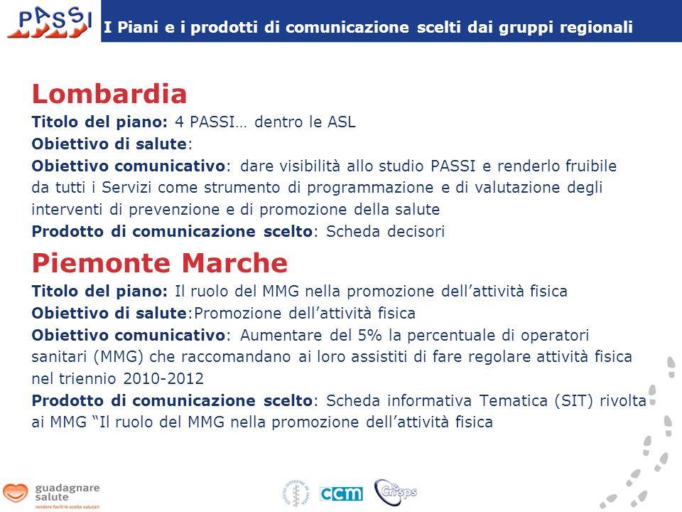 I Piani e i prodotti di comunicazione scelti dai gruppi regionali