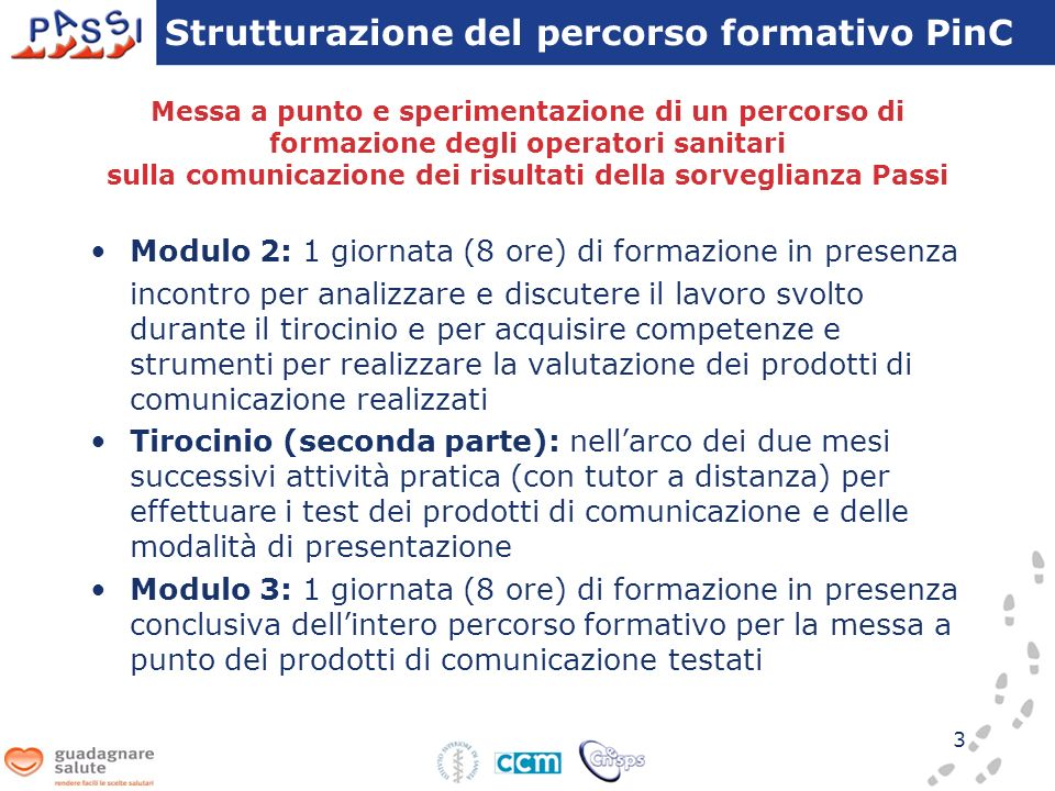 Strutturazione del percorso formativo PinC