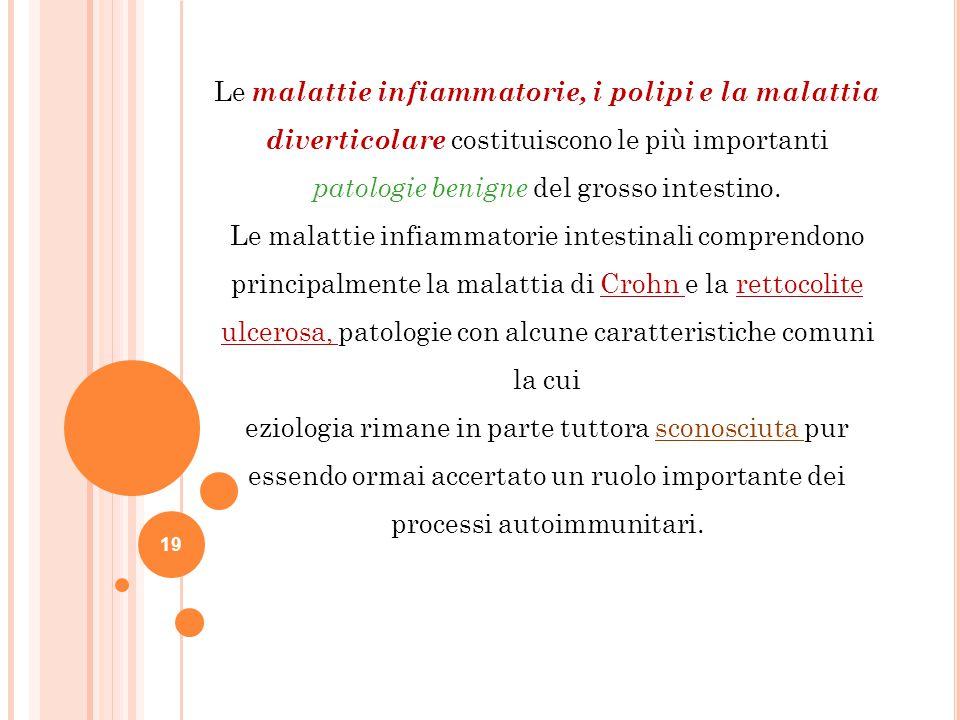 Le malattie infiammatorie, i polipi e la malattia diverticolare costituiscono le più importanti patologie benigne del grosso intestino.