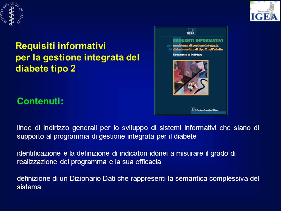 Requisiti informativi per la gestione integrata del diabete tipo 2