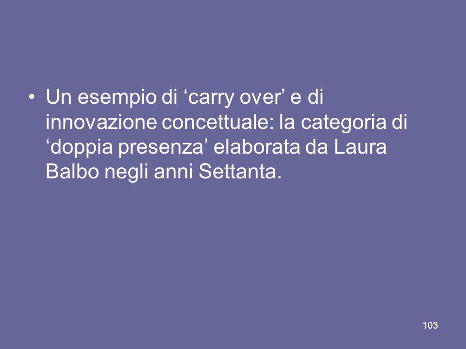 Un esempio di 'carry over' e di innovazione concettuale: la categoria di 'doppia presenza' elaborata da Laura Balbo negli anni Settanta.