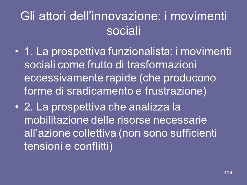 Gli attori dell'innovazione: i movimenti sociali