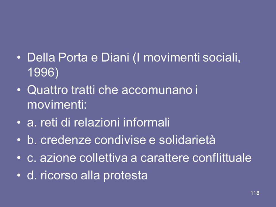 Della Porta e Diani (I movimenti sociali, 1996)