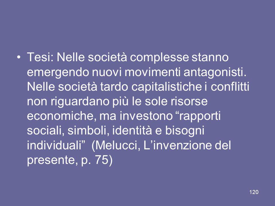 Tesi: Nelle società complesse stanno emergendo nuovi movimenti antagonisti.