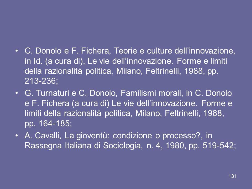 C. Donolo e F. Fichera, Teorie e culture dell'innovazione, in Id