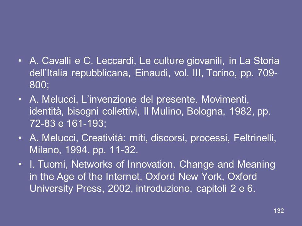 A. Cavalli e C. Leccardi, Le culture giovanili, in La Storia dell'Italia repubblicana, Einaudi, vol. III, Torino, pp. 709-800;