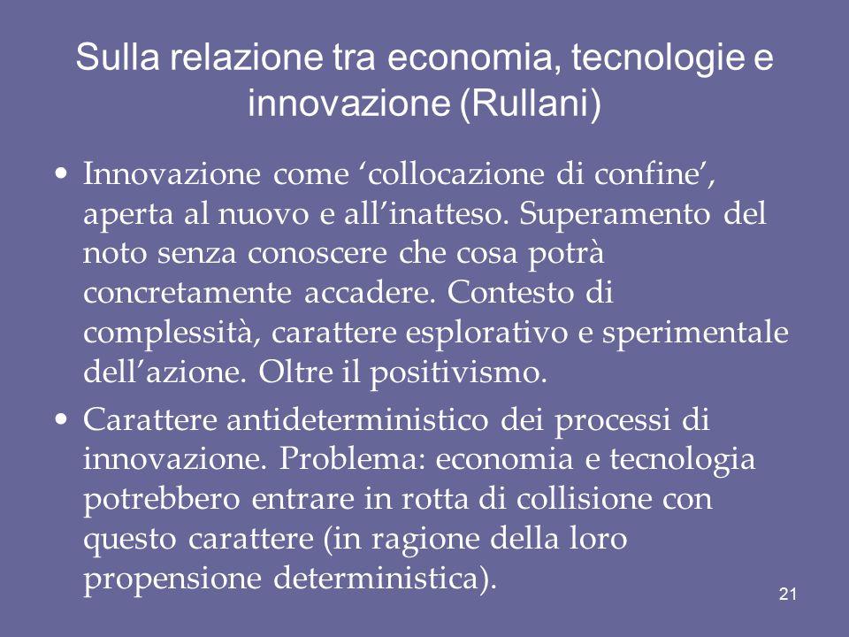 Sulla relazione tra economia, tecnologie e innovazione (Rullani)
