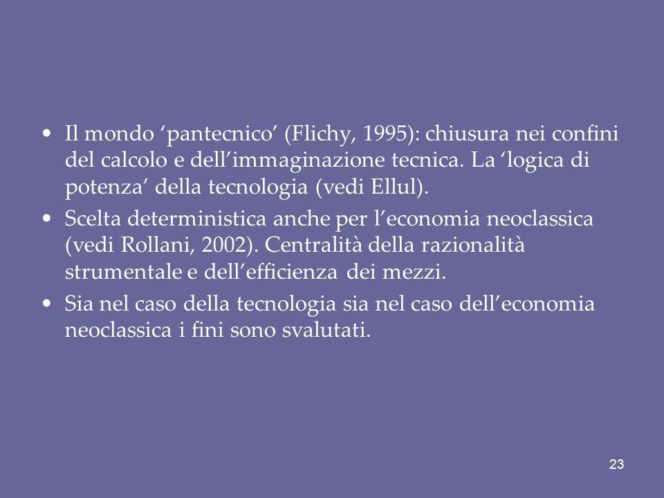 Il mondo 'pantecnico' (Flichy, 1995): chiusura nei confini del calcolo e dell'immaginazione tecnica. La 'logica di potenza' della tecnologia (vedi Ellul).