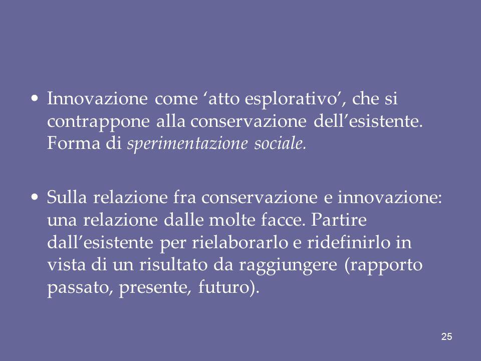 Innovazione come 'atto esplorativo', che si contrappone alla conservazione dell'esistente. Forma di sperimentazione sociale.